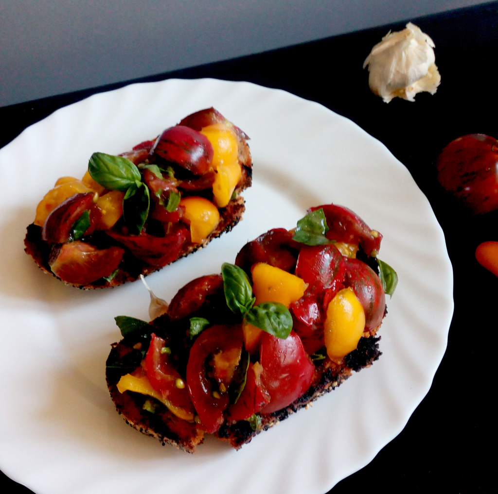 Tomatoes and Basil Bruschetta on a plate