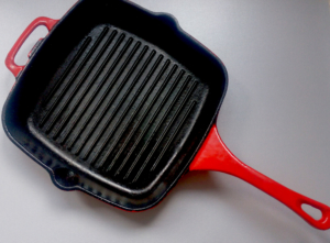 red cast-iron grill pan