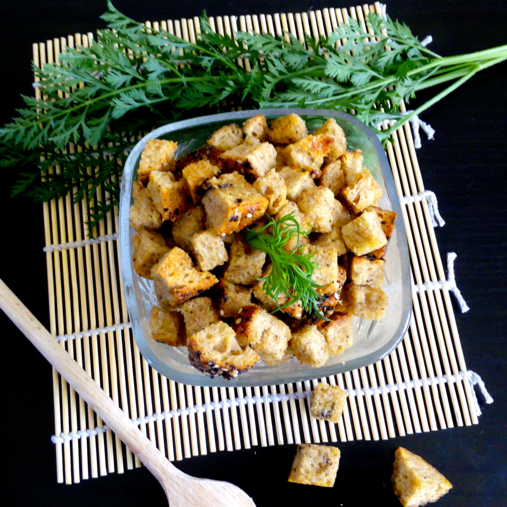 homemade croutons in a glass bowl