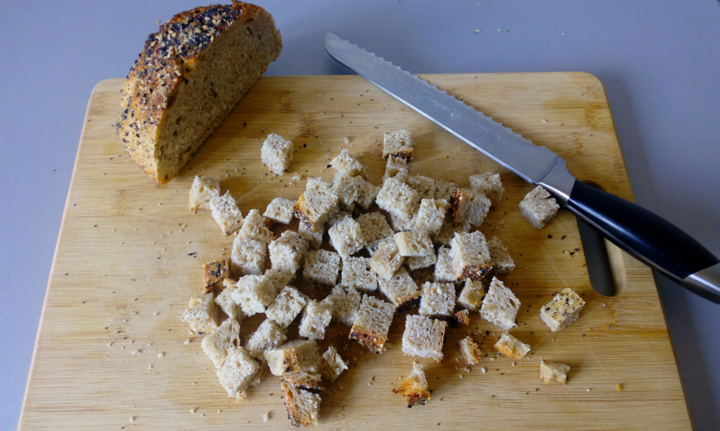 stale bread cut into cubes