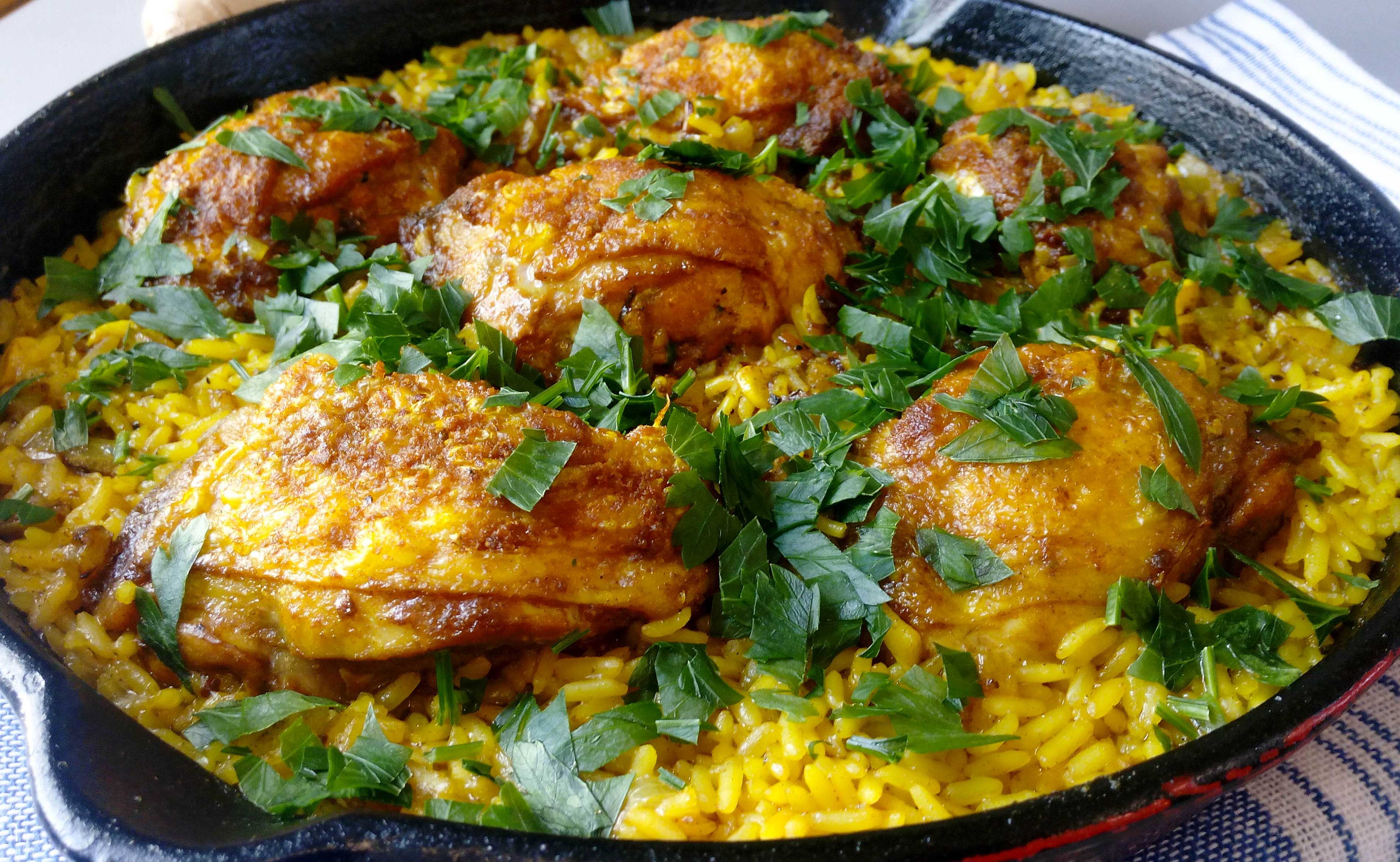 One Skillet Ginger & Turmeric Chicken Thighs With Rice