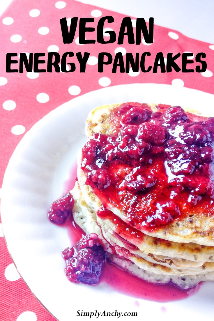 Vegan energy pancakes made with chia seeds and banana, that are also sugar-free! These soft and delicious beauties are exactly what you need to start your day on the weekends!   #veganpancakes #chiaseeds #chiaseedrecipe #healthybreakfast   simplyanchy.com