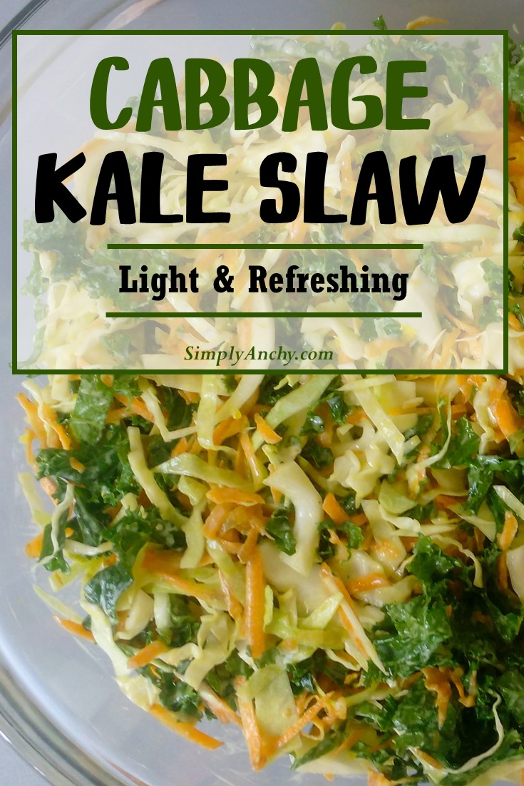 Are you ready for the BBQ season? Try this refreshing cabbage kale slaw recipe. It's a very light and healthy version of coleslaw that everyone will enjoy. It is a great side to burgers and steaks. | #coleslaw #kaleslaw #cabbagesalad #healthysalad | simplyanchy.com