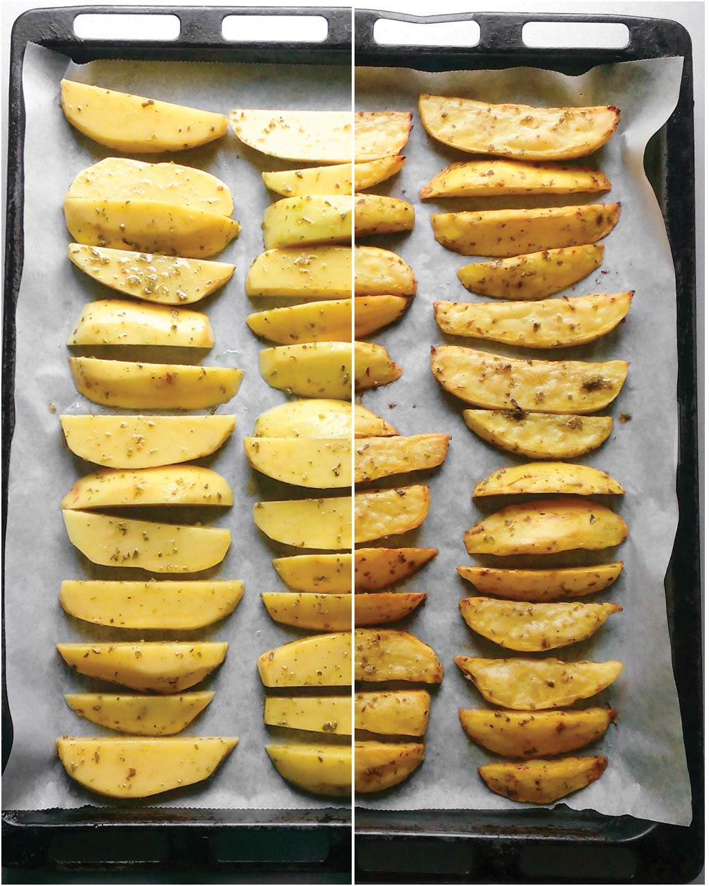 Easy Baked Potato Fries – this is a foolproof recipe that will give you PERFECT oven potato fries every single time. All you need is potatoes, a little bit of oil and your favorite seasonings. The rest is up to an oven!   #bakedpotatofries #frenchfries #bakedfrenchfries #ovenbakedfries   simplyanchy.com