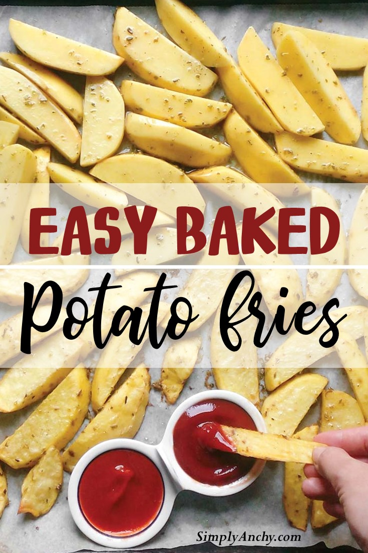 Easy Baked Potato Fries – this is a foolproof recipe that will give you PERFECT oven potato fries every single time. All you need is potatoes, a little bit of oil and your favorite seasonings. The rest is up to an oven! | #bakedpotatofries #frenchfries #bakedfrenchfries #ovenbakedfries | simplyanchy.com