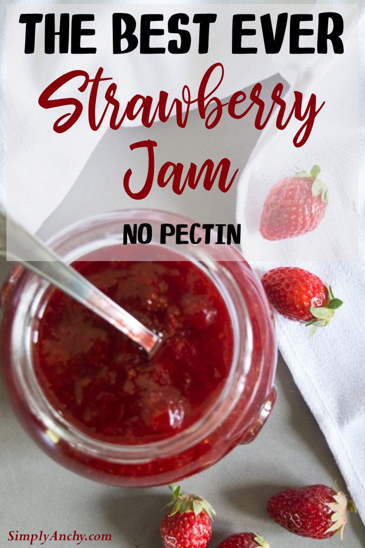 The Best Strawberry Jam Ever – this is a very easy recipe for strawberry jam, that doesn't call for pectin. It is full of FLAVOR and can be kept in the pantry for a long time. Check it out! | #strawberryjam #strawberries #strawberryjamrecipe #strawberryrecipe | simplyanchy.com