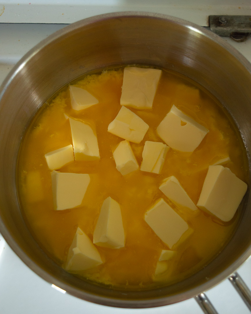 butter melting slowly in a saucepan