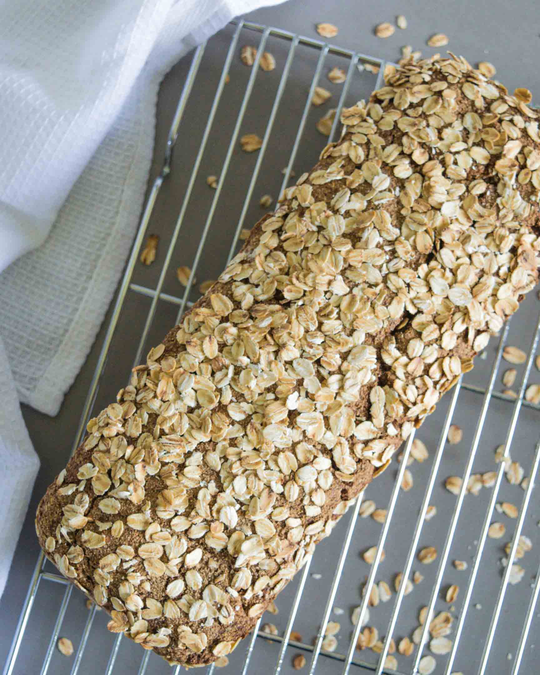 rye flour and oats bread on a cooling rack