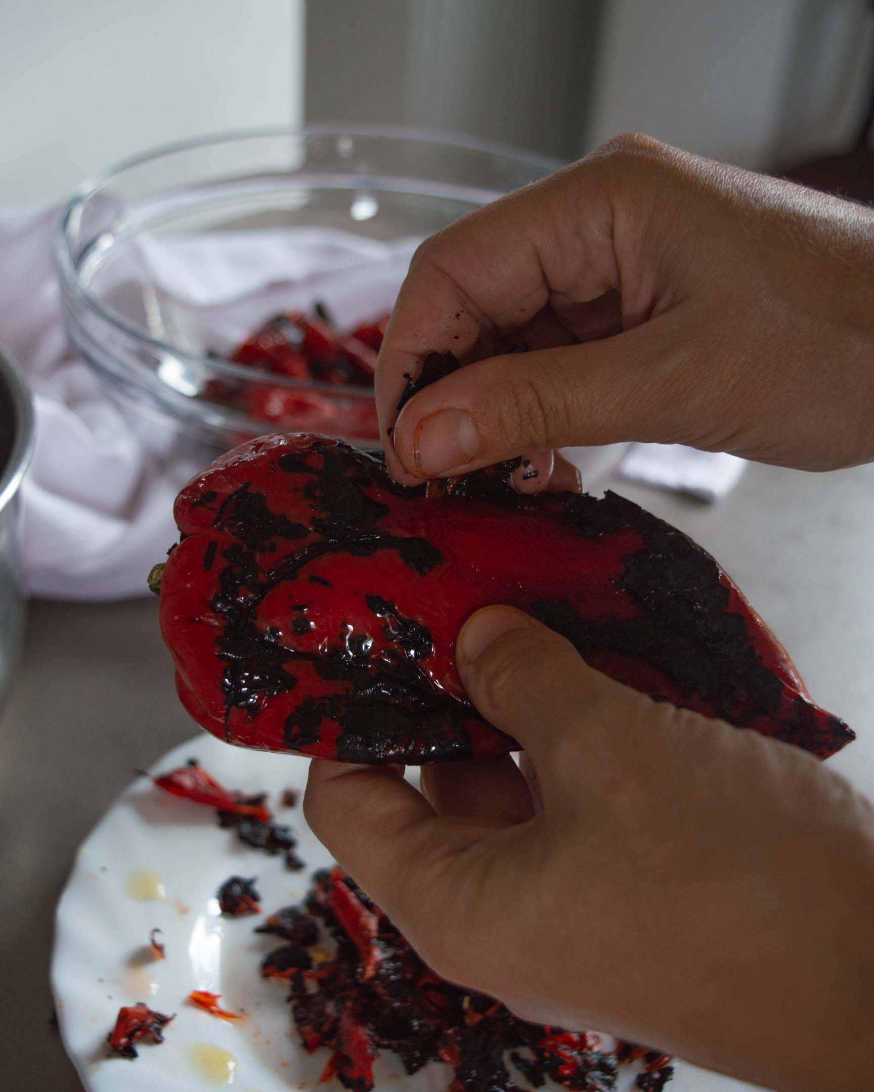 peeling of roasted red peppers