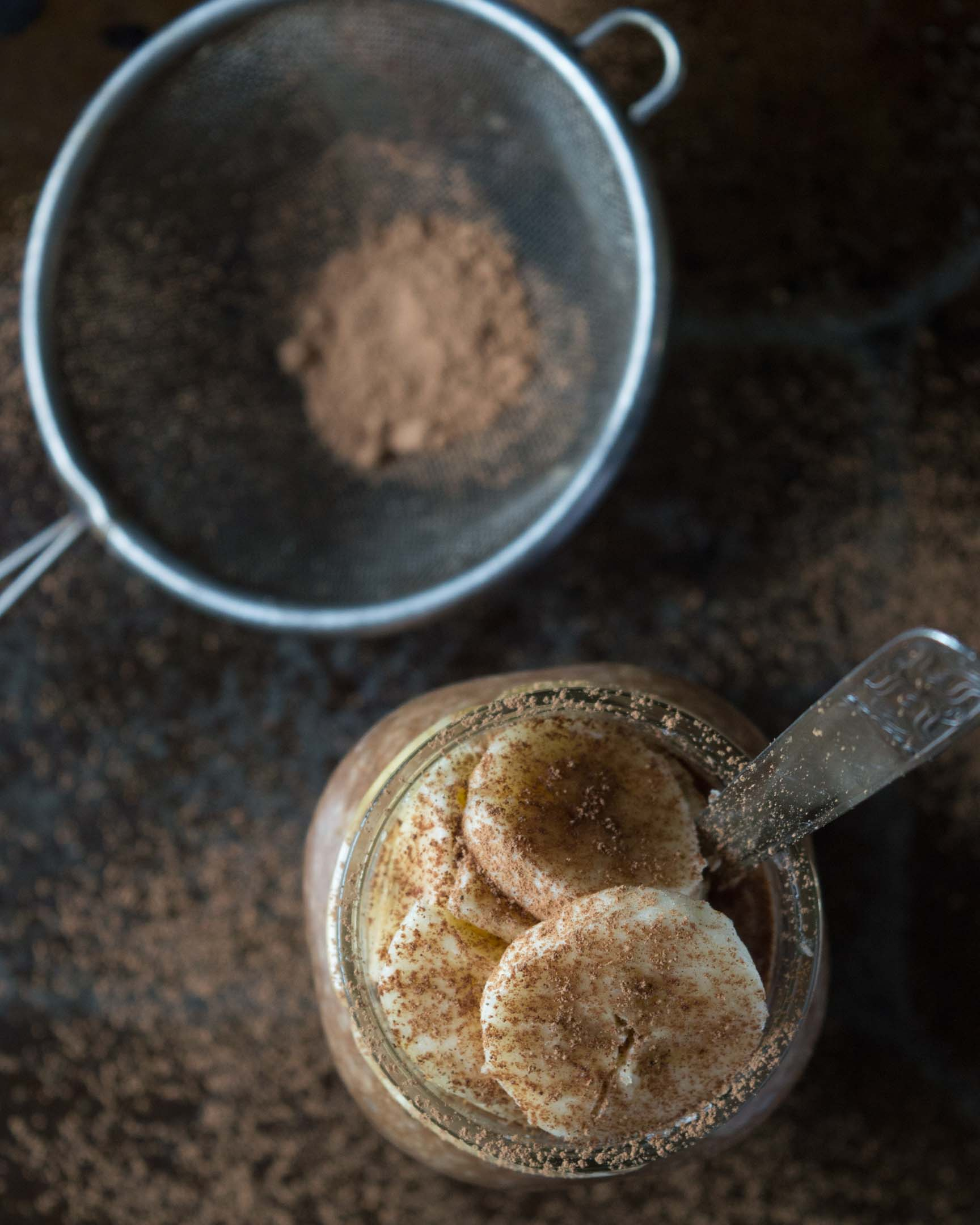 raw cacao banana chia pudding in a glass jar