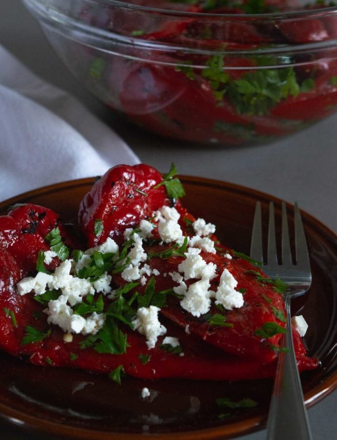 Roasted Italian Sweet Red Pepper Cold Salad