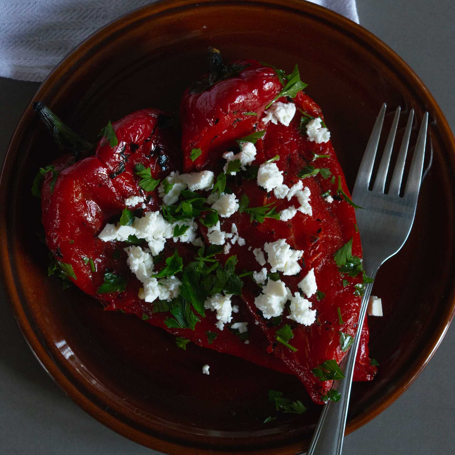 red pepper salad on a plate
