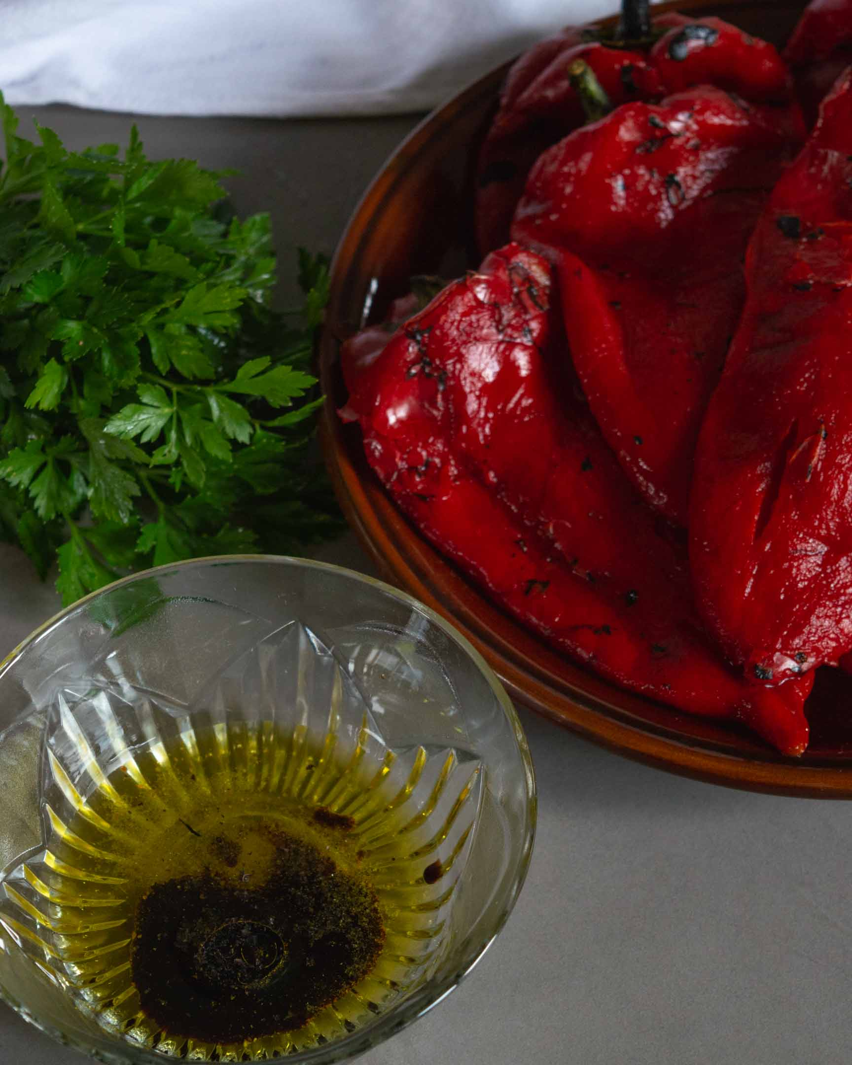 parsley, olive oil, balsamic vinegar and roasted red peppers before combining