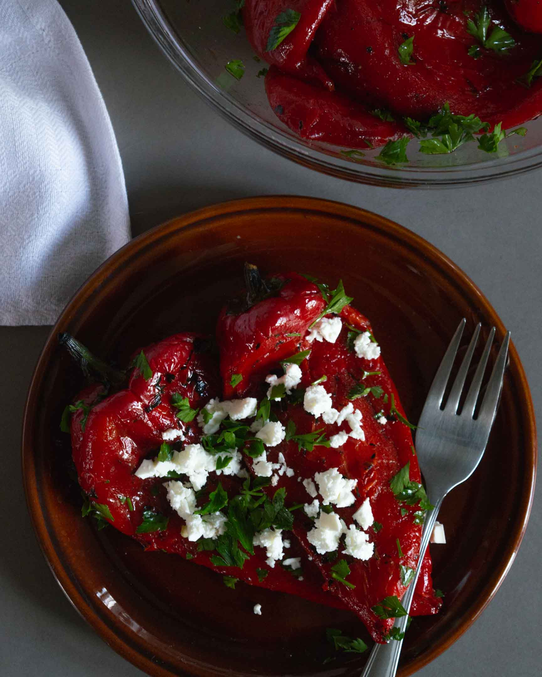 roasted italian sweet red pepper cold salad on a plate