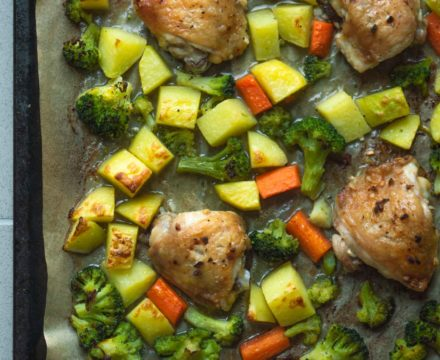Chicken Thighs With Broccoli and Potatoes Sheet Pan