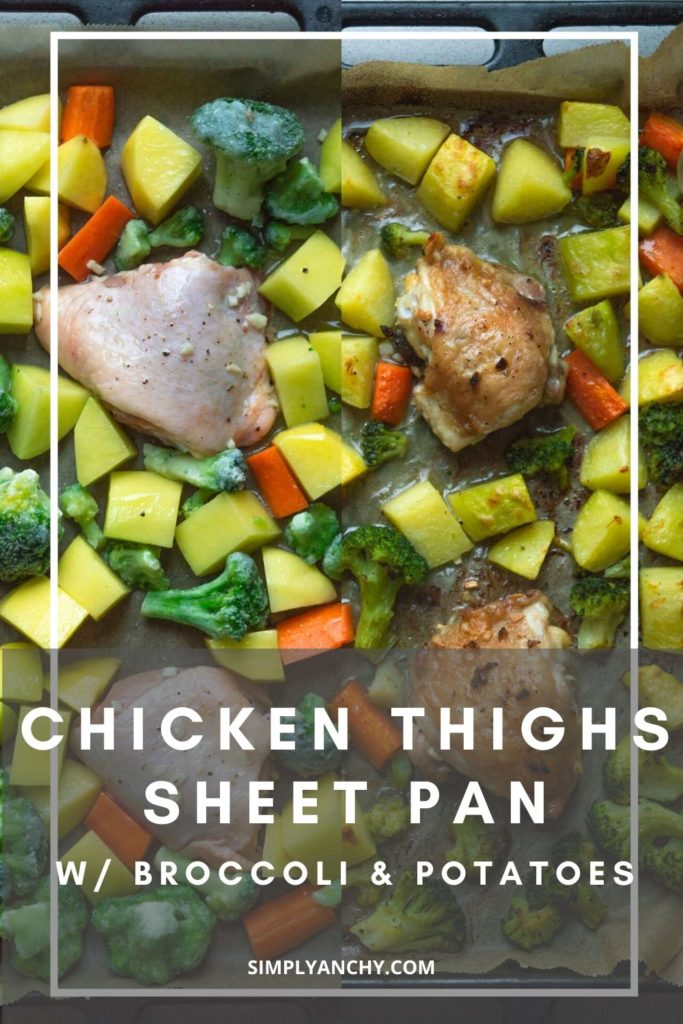 chicken thighs with broccoli and potatoes on sheet pan pin