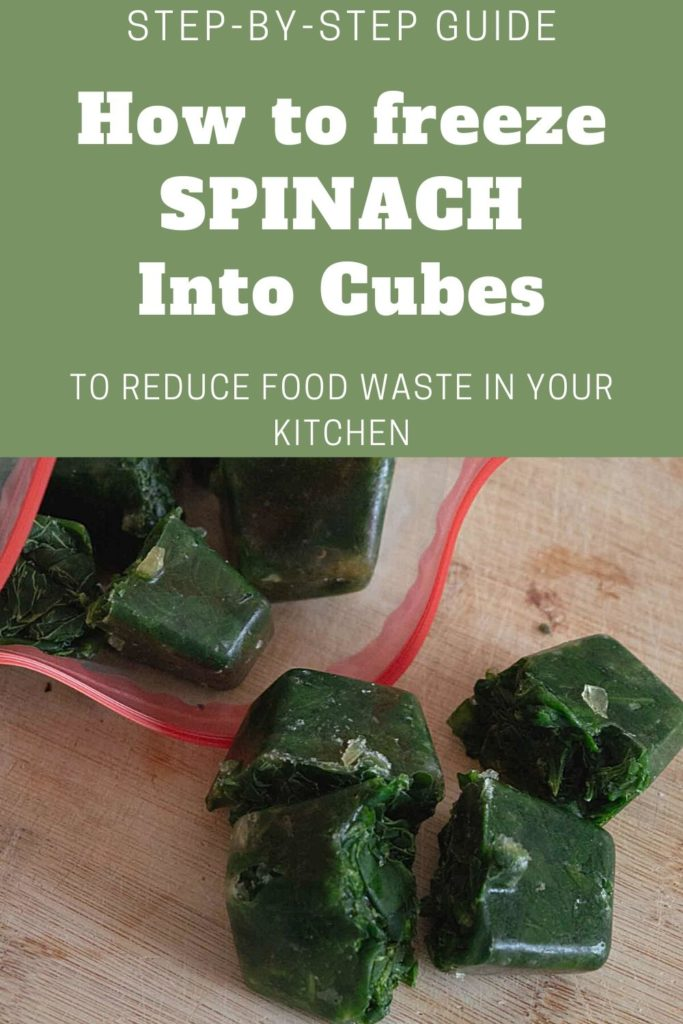how to freeze spinach into cubes pin